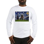 Starry Night / Black Pug Long Sleeve T-Shirt