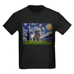 Starry Night / Black Pug Kids Dark T-Shirt