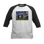 Starry Night / Black Pug Kids Baseball Jersey