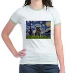 Starry Night / Black Pug Jr. Ringer T-Shirt