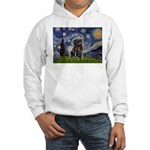 Starry Night / Black Pug Hooded Sweatshirt
