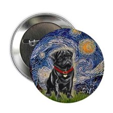 "Starry Night / Black Pug 2.25"" Button"