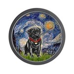 Starry Night / Black Pug Wall Clock