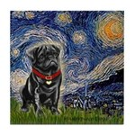 Starry Night / Black Pug Tile Coaster