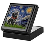 Starry Night / Black Pug Keepsake Box