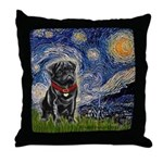 Starry Night / Black Pug Throw Pillow