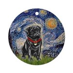 Starry Night / Black Pug Ornament (Round)