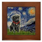 Starry Night / Black Pug Framed Tile