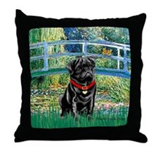 Bridge / Black Pug Throw Pillow