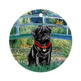 Bridge / Black Pug Ornament (Round)
