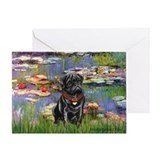 Lilies (#2) &amp; Black Pug Greeting Card