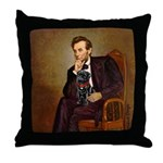 Lincoln-Black Pug Throw Pillow