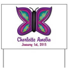 CUSTOM Butterfly Baby Name and Birthdate Yard Sign