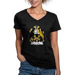 Quick Family Crest Women's V-Neck Dark T-Shirt