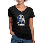 Quennell Family Crest Women's V-Neck Dark T-Shirt
