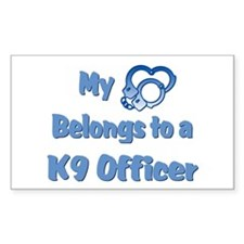 K9 Officer Heart Rectangle Decal
