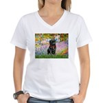 Garden / Black Pug Women's V-Neck T-Shirt