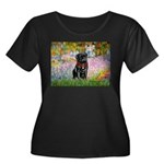 Garden / Black Pug Women's Plus Size Scoop Neck Da