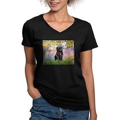Garden / Black Pug Women's V-Neck Dark T-Shirt