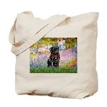 Garden / Black Pug Tote Bag