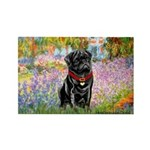 Garden / Black Pug Rectangle Magnet