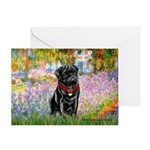 Garden / Black Pug Greeting Card