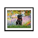 Garden / Black Pug Framed Panel Print