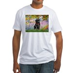 Garden / Black Pug Fitted T-Shirt
