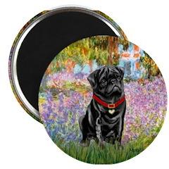 "Garden / Black Pug 2.25"" Magnet (10 pack)"