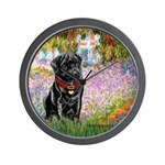 Garden / Black Pug Wall Clock