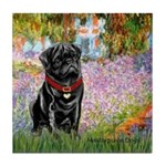 Garden / Black Pug Tile Coaster