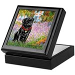 Garden / Black Pug Keepsake Box