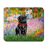 Garden / Black Pug Mousepad