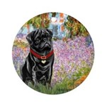 Garden / Black Pug Ornament (Round)