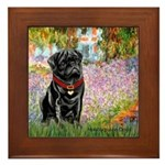 Garden / Black Pug Framed Tile