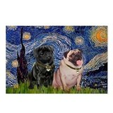 Starry Night / 2 Pugs Postcards (Package of 8)