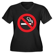 Classic No Smoking Women's Plus Size V-Neck Dark T