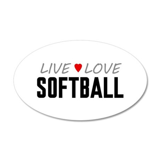 Live Love Softball 38.5 x 24.5 Oval Wall Peel