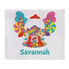 Custom Name Candyland Birthday Throw Blanket