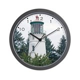 Umpqua River Light with Trees Wall Clock