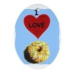 I LOVE DONUTS Oval Ornament