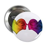 Rainbow love hearts Button