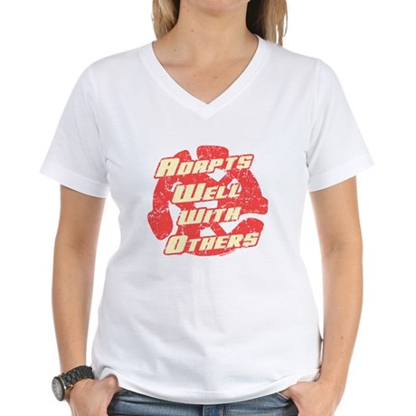 Adapts Well Womens V-Neck T-Shirt