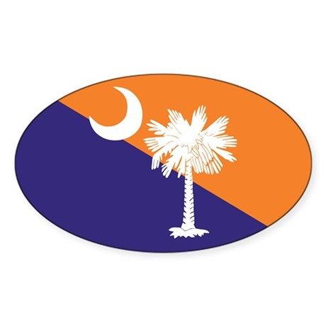 Orange Purple SC Flag Oval Sticker