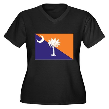 Orange Purple SC Flag Women's Plus Size V-Neck Dar