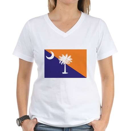 Orange Purple SC Flag Women's V-Neck T-Shirt