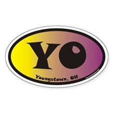 Youngstown Ohio YO Euro Oval Sticker with Color