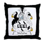Nicholas Family Crest Throw Pillow