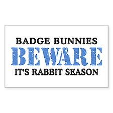 Badge Bunnies Beware Rectangle Decal