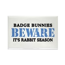 Badge Bunnies Beware Rectangle Magnet